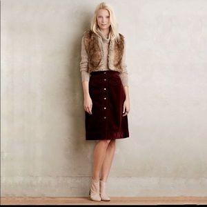 Holding Horses burgundy wine corduroy midi skirt
